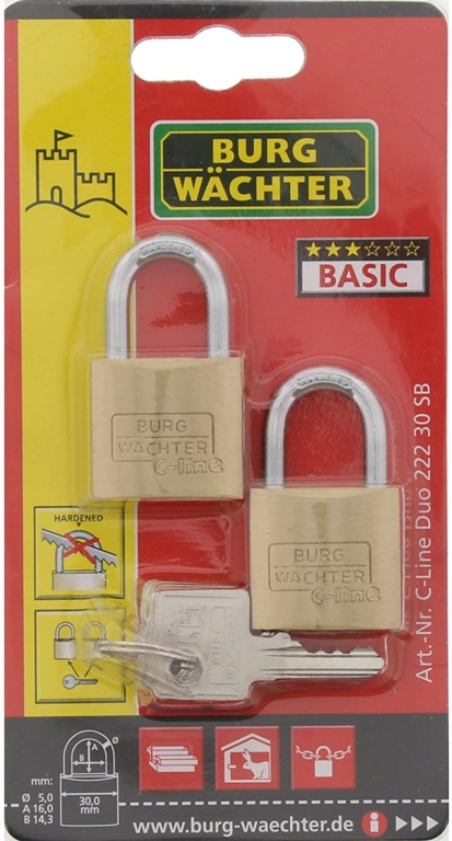 Burg-Wächter Light Security Brass Padlock Multi-Pack Keyed Alike - 2 x 30mm
