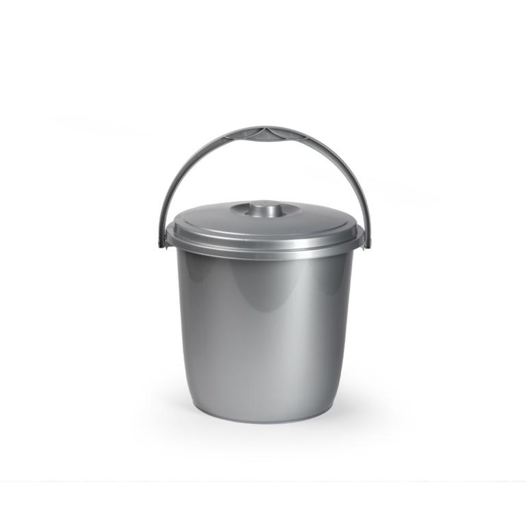 Plasticforte Silver Bucket & Lid - 15L