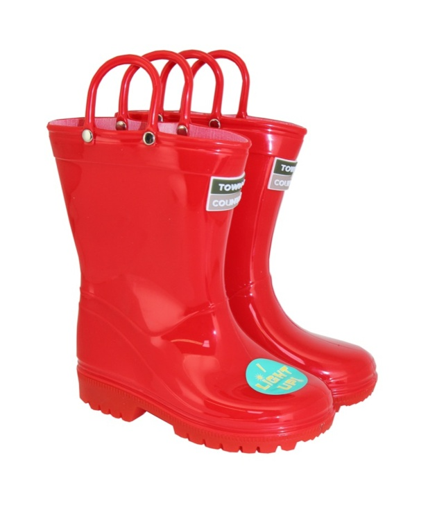 Town & Country Kids Light Up Wellies Red - 10
