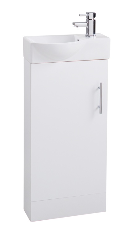 Cassellie White Mini Cabinet & Basin Unit - 225 × 400 × 105 mm