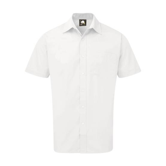 Mens White Short Sleeved Shirt - 15.5