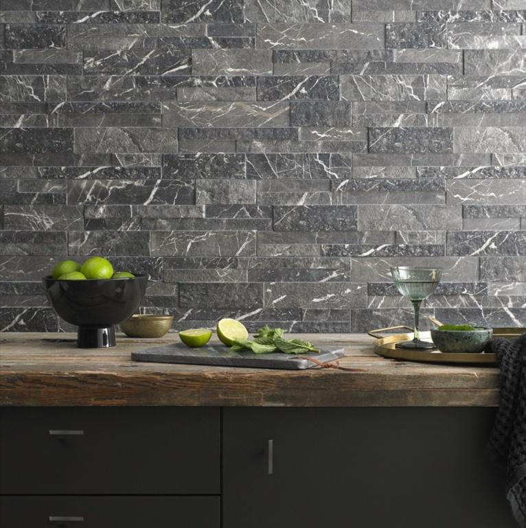 Verona Marmi Black Matt Porcelain Wall Tile - 160 x 394mm