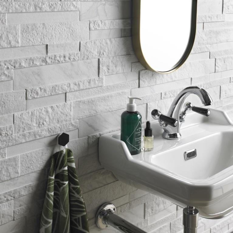 Verona Marmi White Matt Porcelain Wall Tile - 160 x 394mm