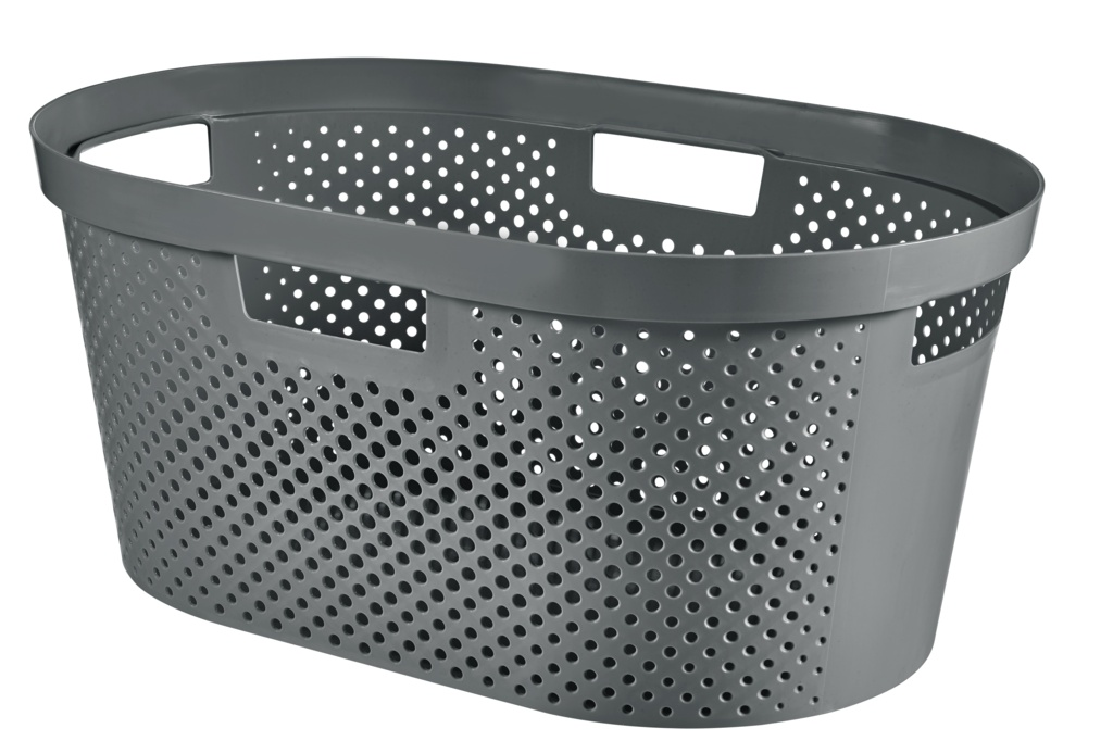 Curver Recycled Infinity Dots Laundry Basket - 40L Grey