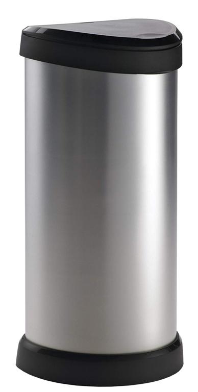 Curver Deco Black & Silver Push Bin - 40L