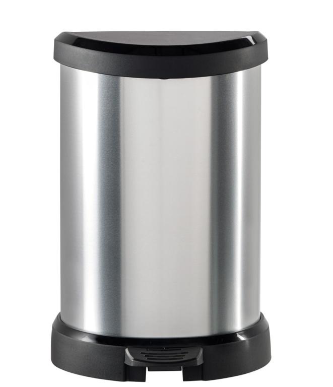Curver Deco Black & Silver Pedal Bin - 20L