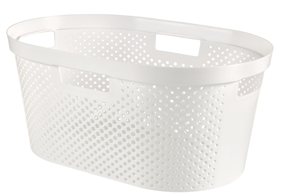 Curver Recycled Infinity Dots Laundry Basket - 40L White