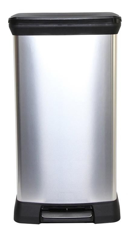 Curver Deco Black & Silver Pedal Bin - 50L