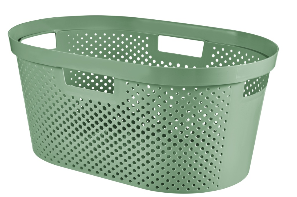 Curver Recycled Infinity Dots Laundry Basket - 40L Shale Green
