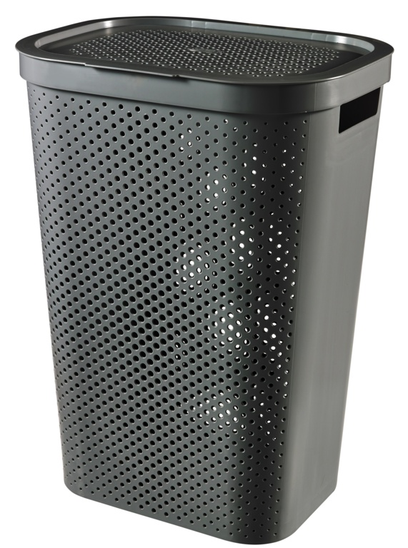 Curver Recycled Infinity Dots Laundry Hamper - 60L Dark Grey