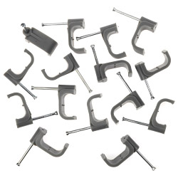 SupaLec Cable Clips Flat Pack of 100 - 10mm - Grey