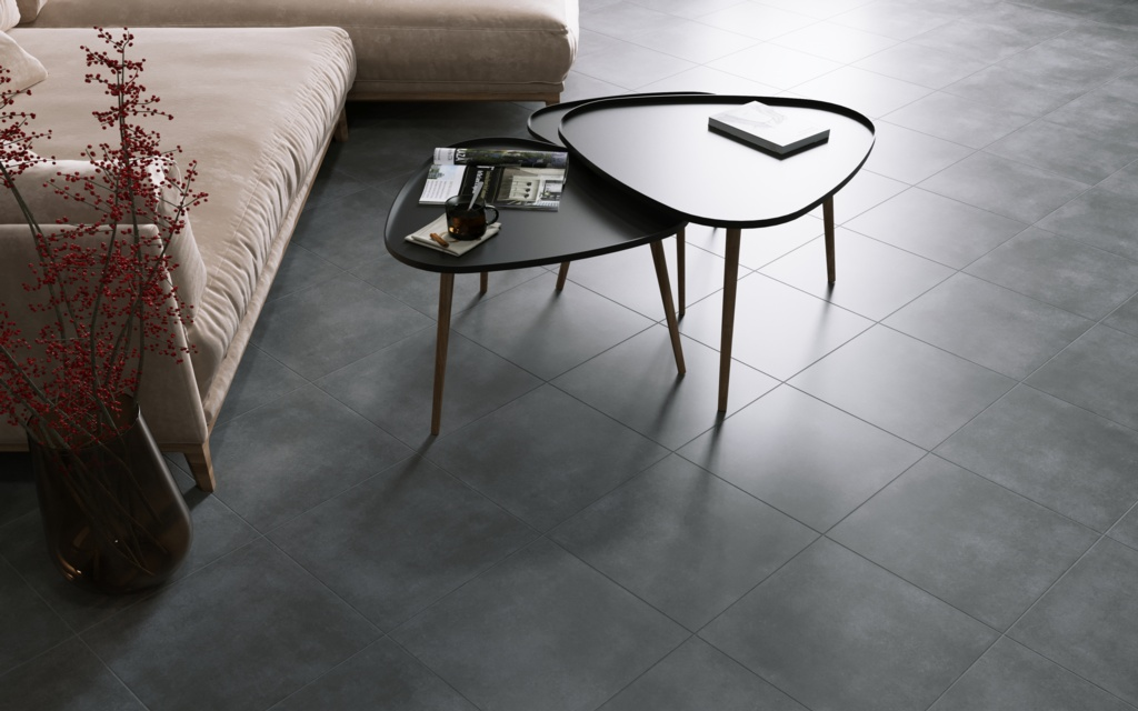 Golden Tile Porcelain Floor Tile 40 x 40cm Pack 7 - Lofty Anthracite 1.12m2