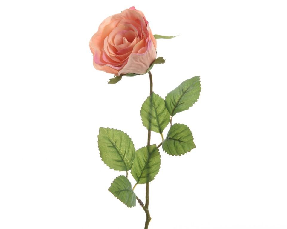 Kaemingk Closed Silk Rose On Stem - 7 x 45cm Peach