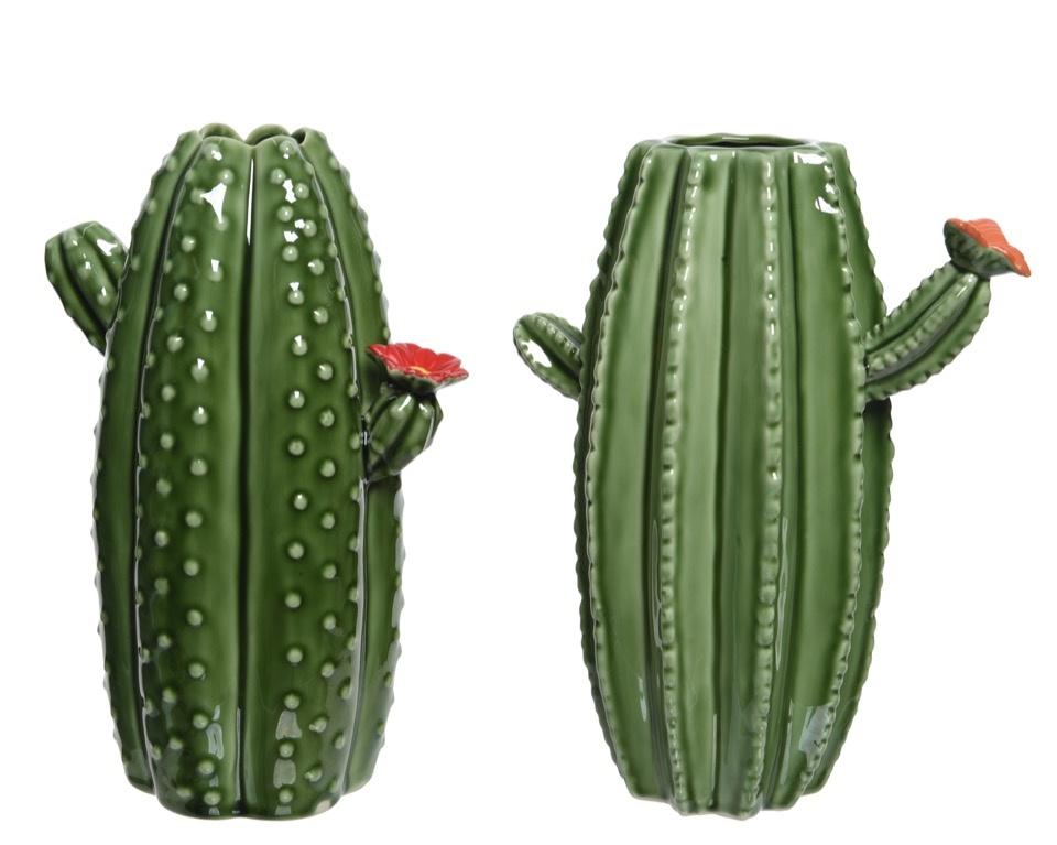Kaemingk Porcelain Cactus Vase - Green Assorted