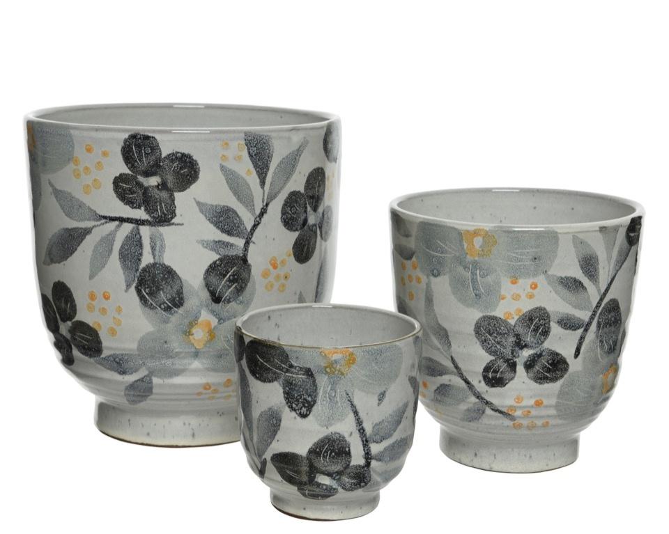 Kaemingk Terracotta Planter Set 3 - Grey
