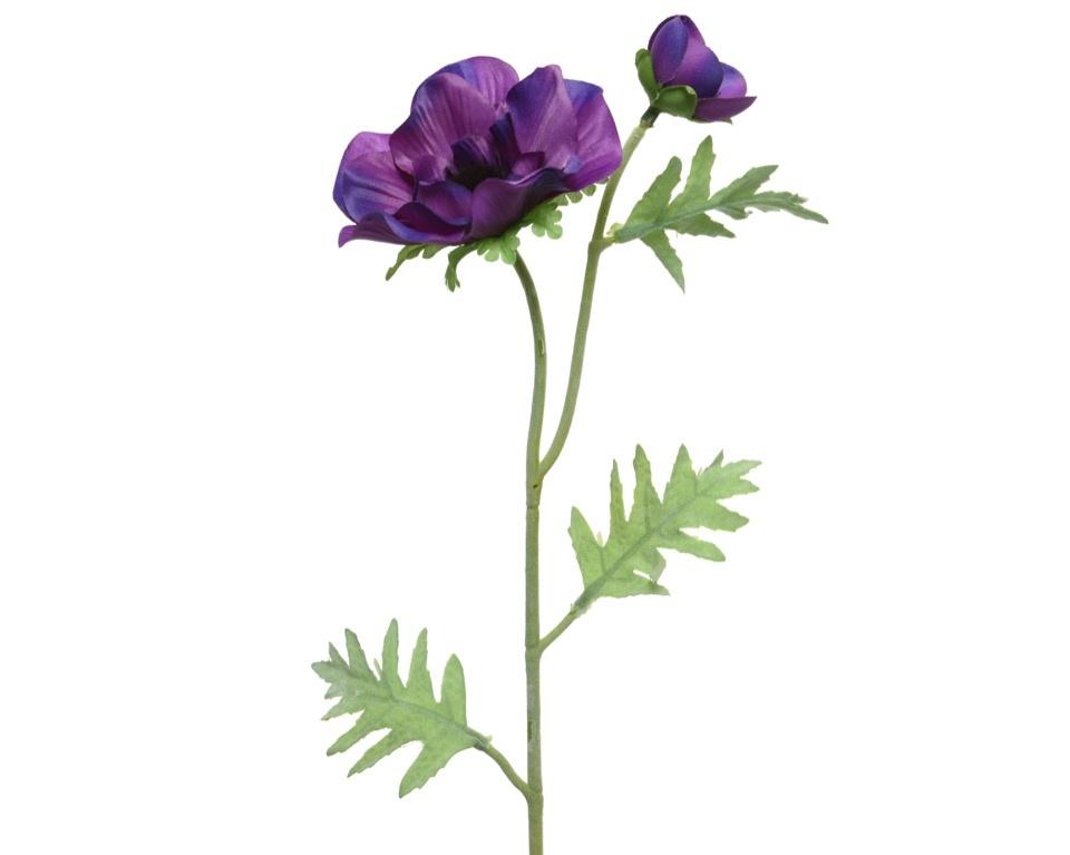 Kaemingk PES Anemone On Stem - Purple