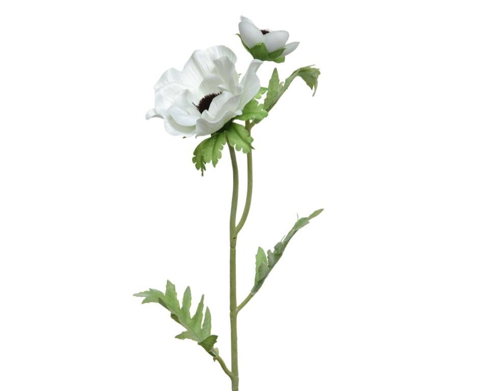 Kaemingk PES Anemone On Stem - White