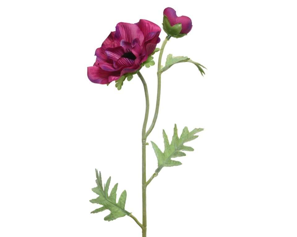 Kaemingk PES Anemone On Stem - Fuchsia