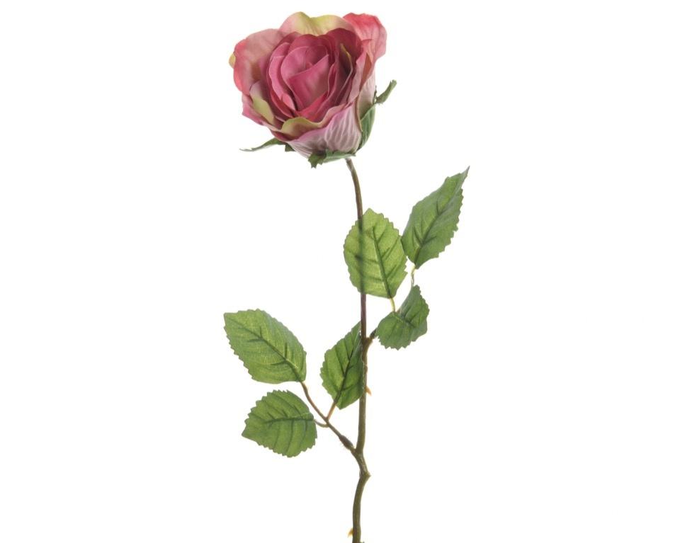 Kaemingk Closed Silk Rose On Stem - 7 x 45cm Soft Pink