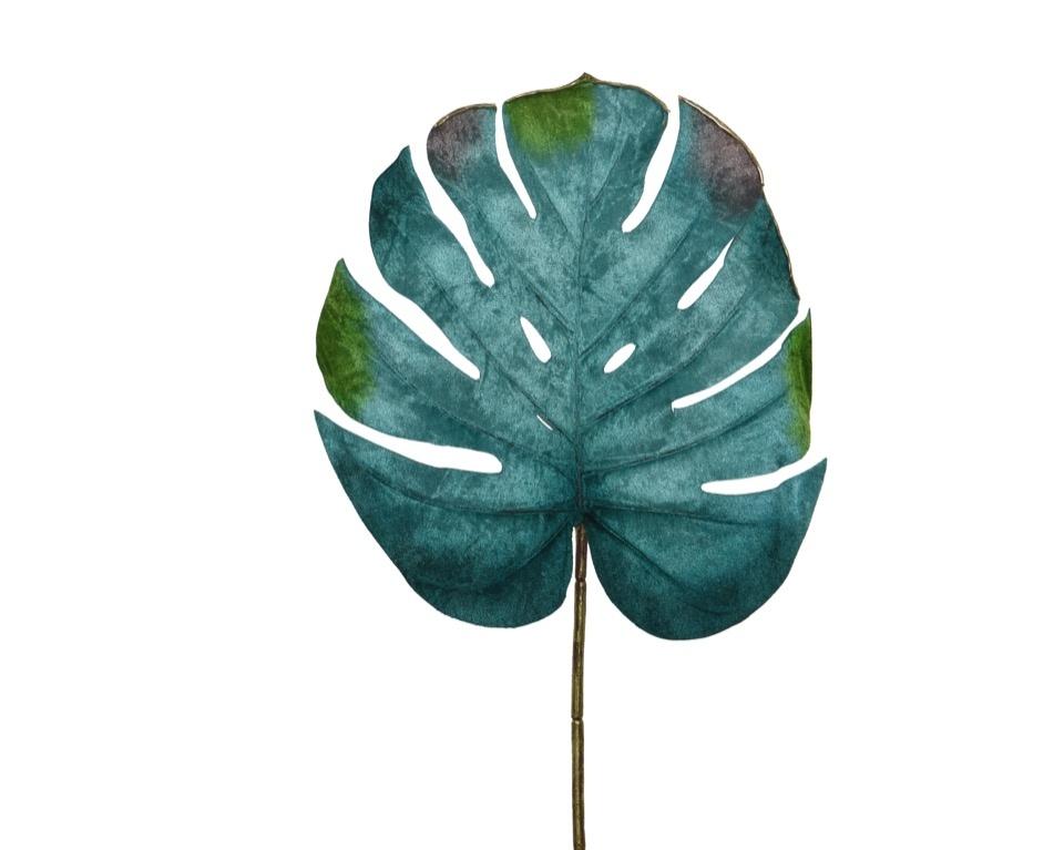 Kaemingk PES Velvet Monstera Leaf - Green