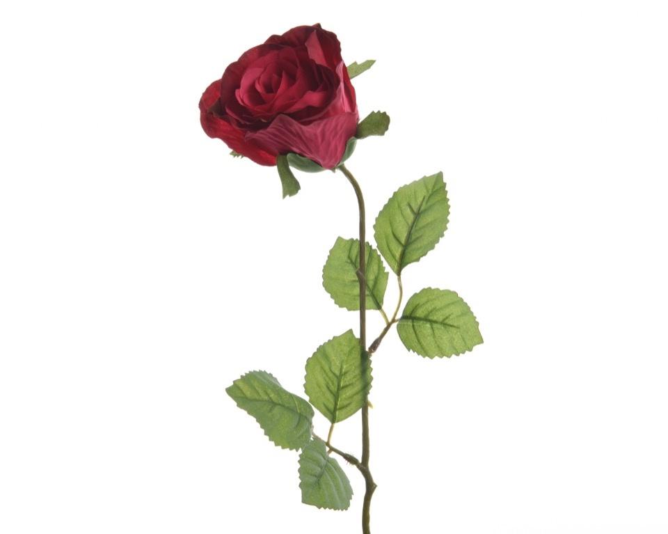 Kaemingk Closed Silk Rose On Stem - 7 x 45cm Fuchsia