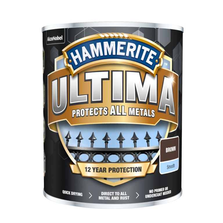 Hammerite Ultima Smooth Metal Paint - 750ml Brown