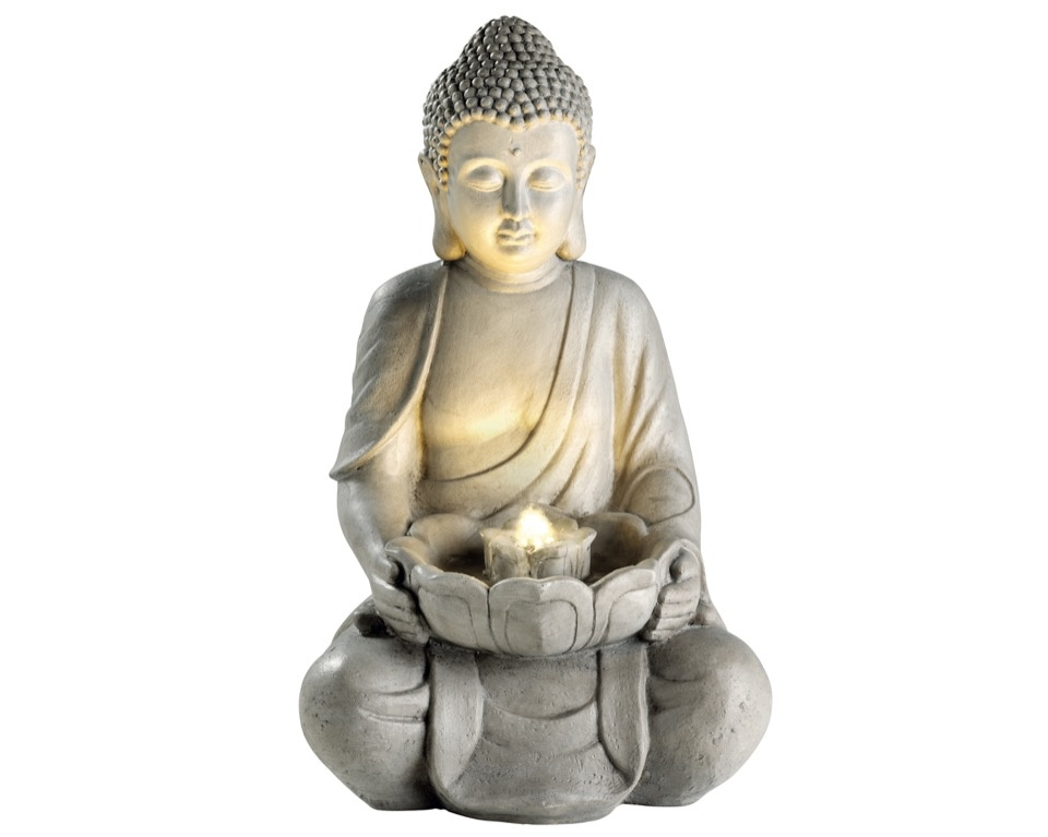 Kaemingk LED Buddha Fountain - Grey