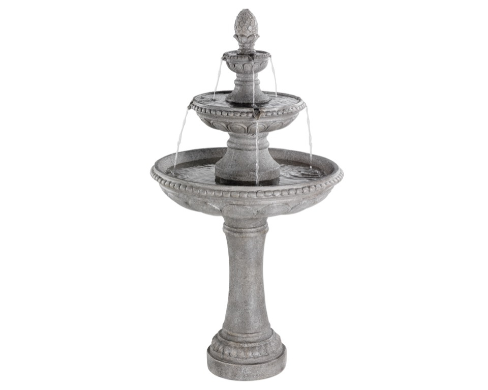 Kaemingk Poly 3 Tier Fountain - Stone Wash