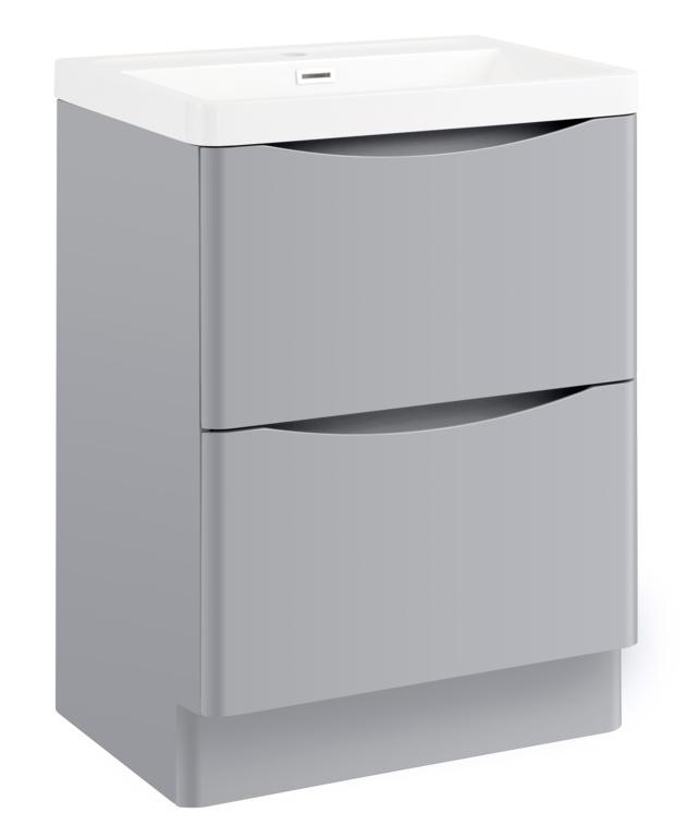 SP Ocata Grey Floor Standing Vanity Unit - 600mm x H: 850mm x D: 420mm