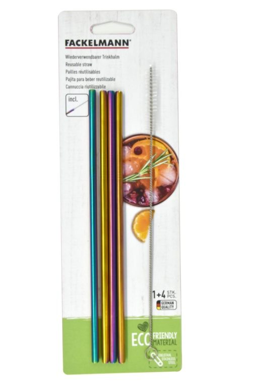 Fackelmann Stainless Steel Straw Set 4 - Rainbow Straight