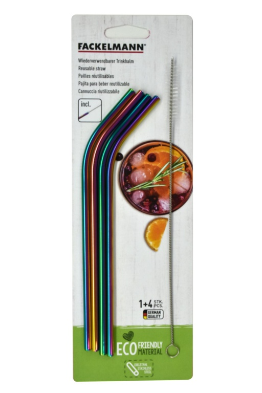 Fackelmann Stainless Steel Straw Set 4 - Rainbow Curved