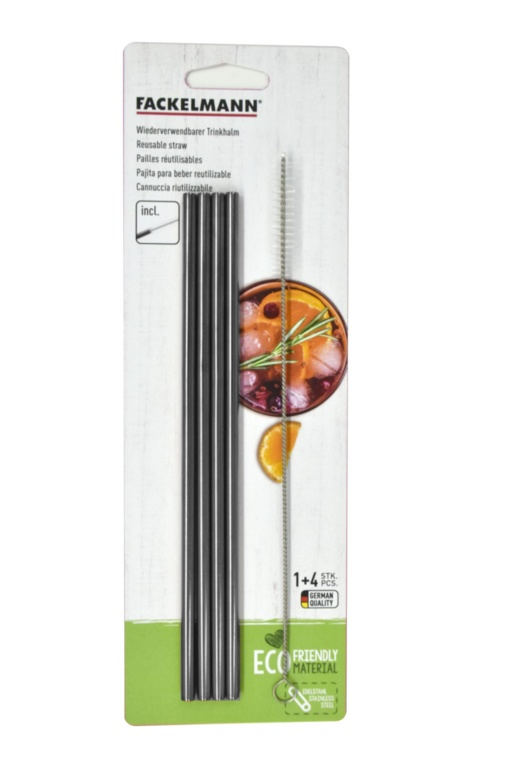 Fackelmann Stainless Steel Straw Set 4 - Straight