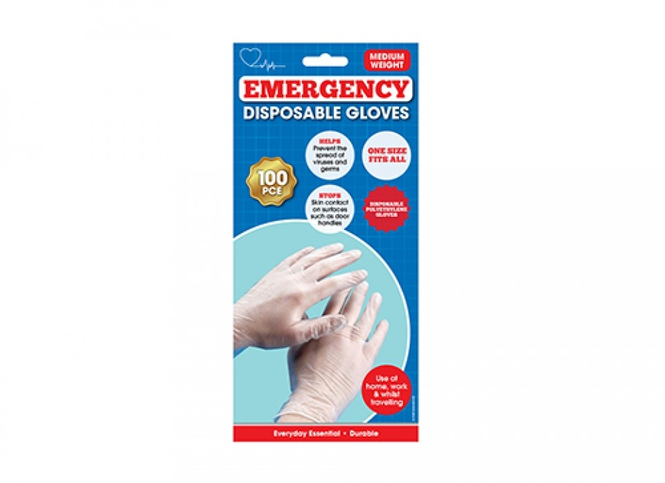 1St Aid Large Midweight Disposable PE Gloves - Pack 100
