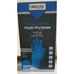 Corestar Blue Vinyl Powder Free Disposable Gloves