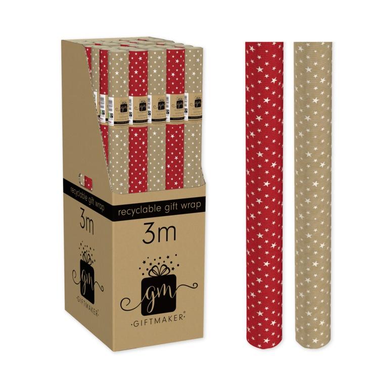 I G Design 3m Gift Wrap - Kraft Stars