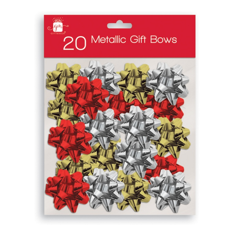 I G Design Gold, Silver, Red Bows - Pack 20