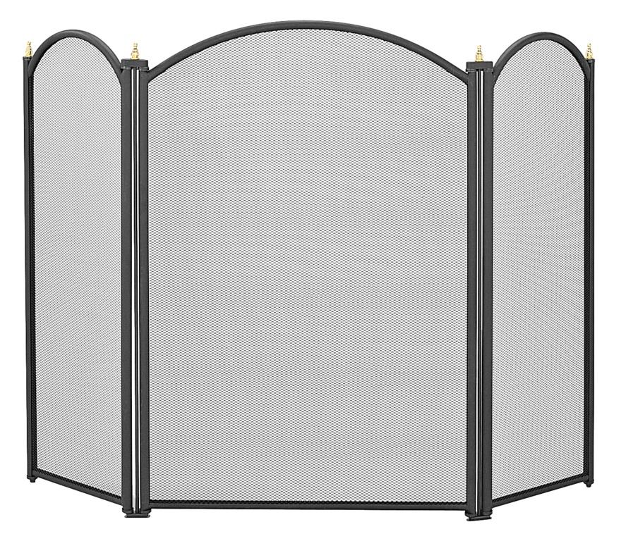 Manor Dynasty 3 Fold Fireguard - Black 66 x 43cm