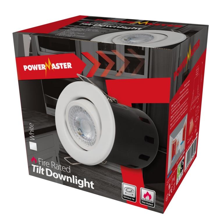 Powermaster Fire Rated Tilt Downlight - White