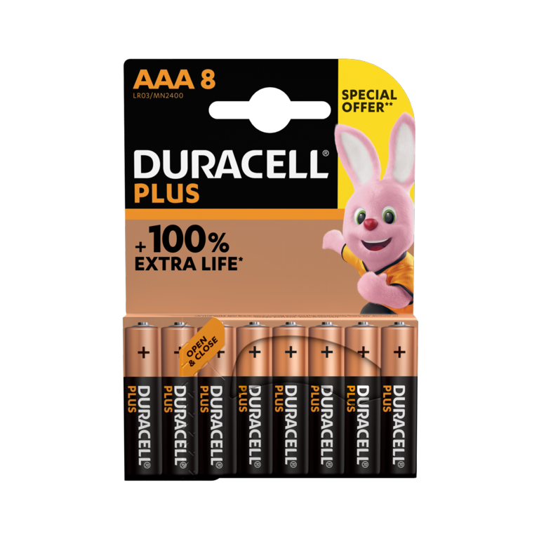 Duracell Plus Power AAA Special Offer Pack - 8 Pack