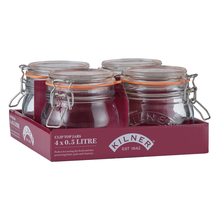 Kilner Clip Top Round Jar - 0.5L Tray Of 4