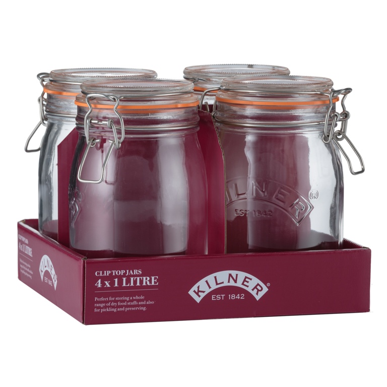 Kilner Clip Top Round Jar - 1L Tray Of 4