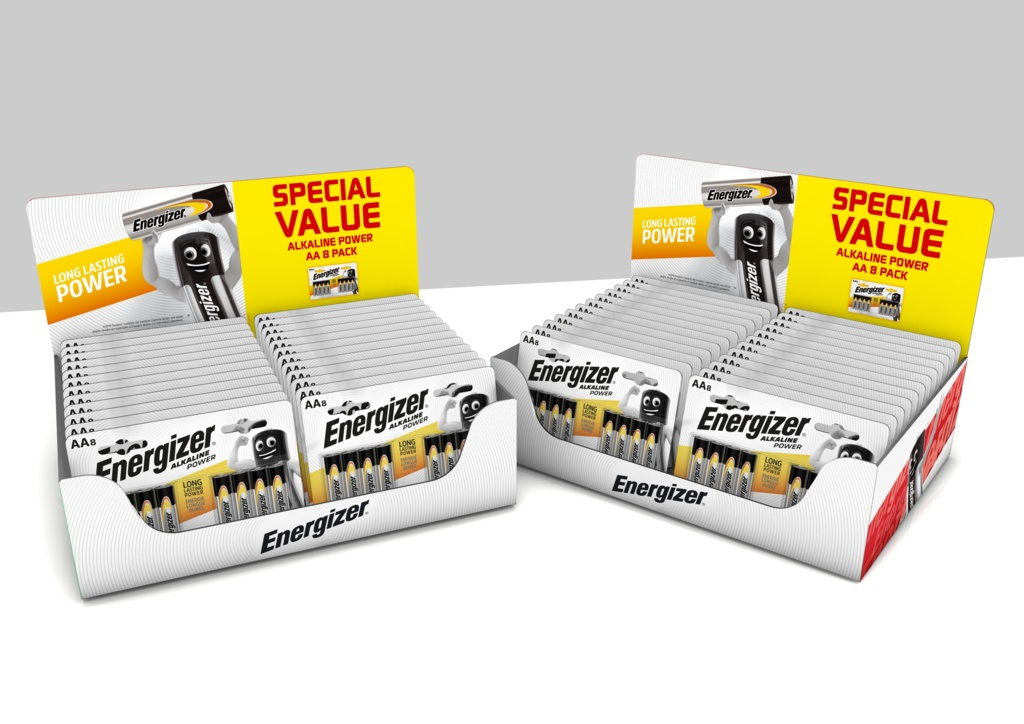 Energizer Alkaline Power Maxi 8 Pack - Counter Display of 24x AA