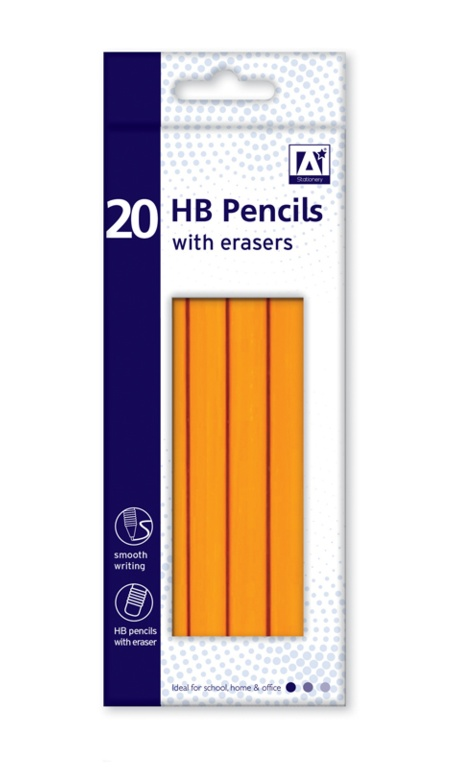 Anker Stat HB Pencils With Erasers - Box 20