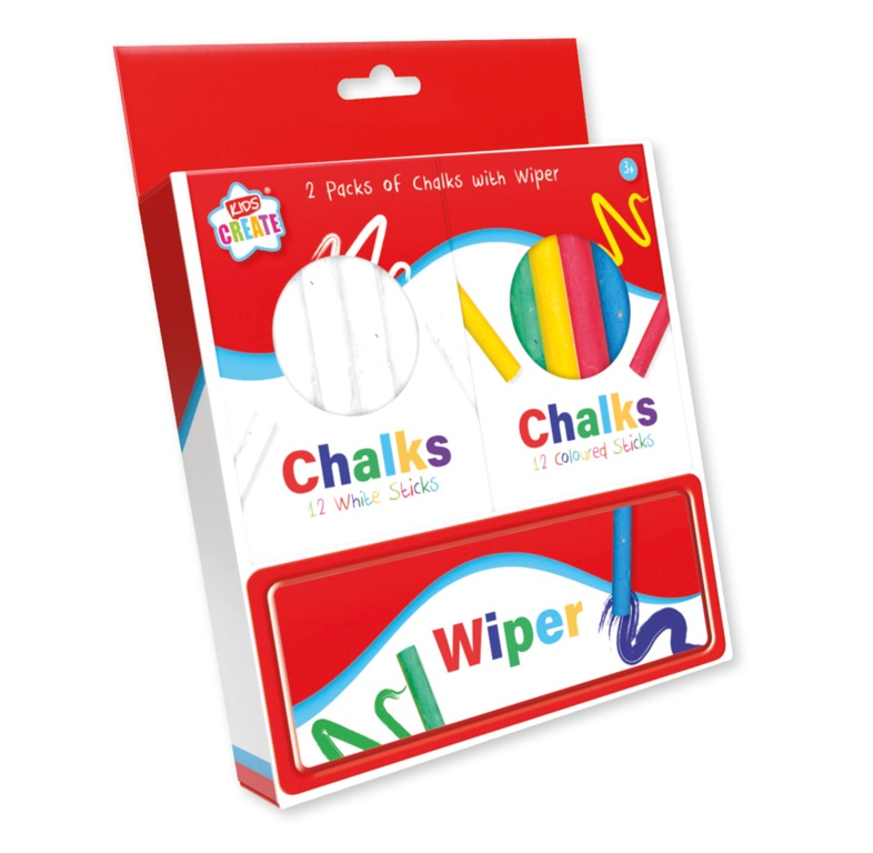 Anker 2 Packs Of Chalks And Wiper - 12 White, 12 Colours