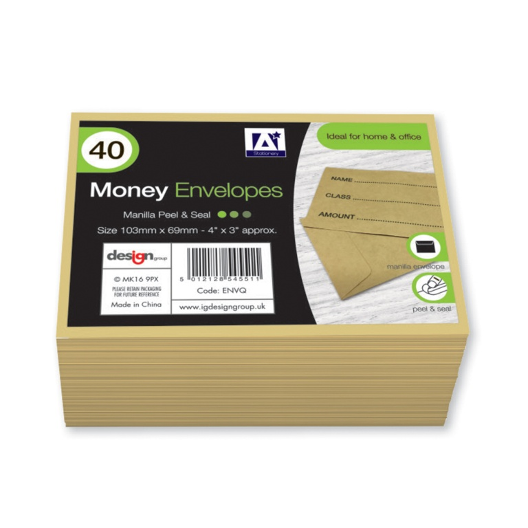 Anker Peel & Seal Money Envelopes - Pack 40