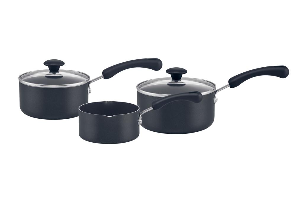 Prestige 3 Piece Pan Set - 14cm Milkpan, 16 & 18cm Saucepans