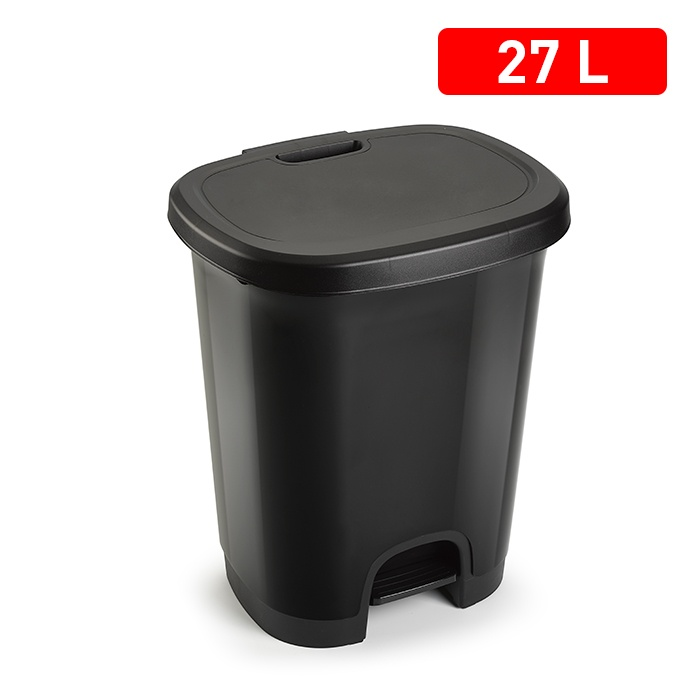 Plasticforte 27L Pedal Bin & Lid - Black