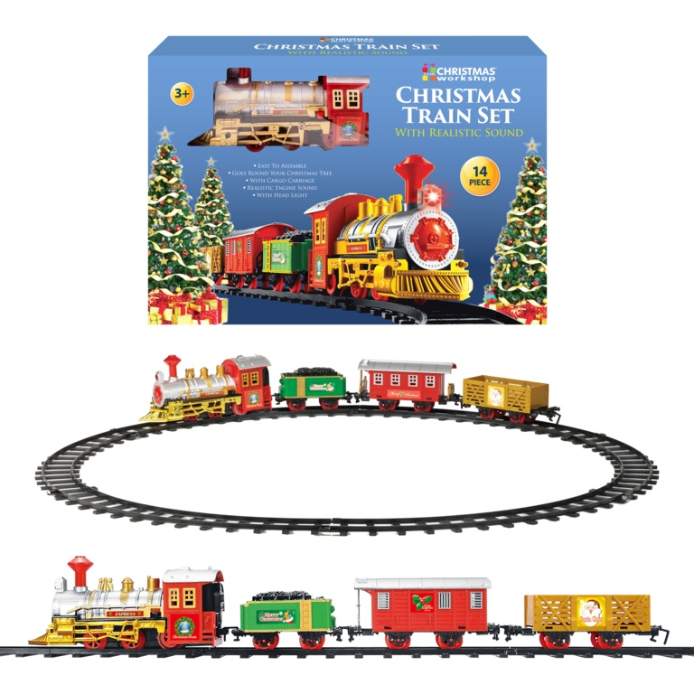 Global Gizmos Christmas Train With 3 Carriages - Battery Operated