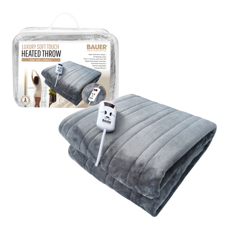 Bauer Luxury Soft Touch Heated Throw - Grey