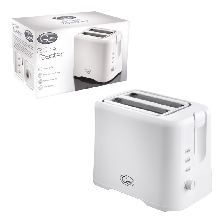Quest 2 Slice Toaster - White